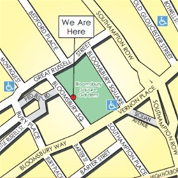 Map showing 12 Bloomsbury Square